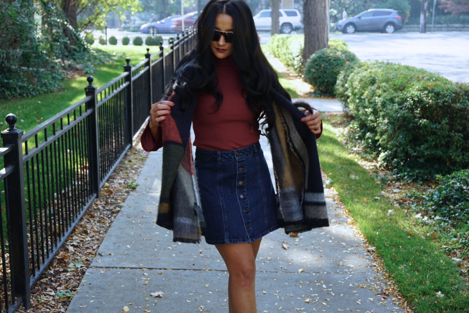 70's outfit, 70s look, A-Line Denim Skirt, Zara Shawl