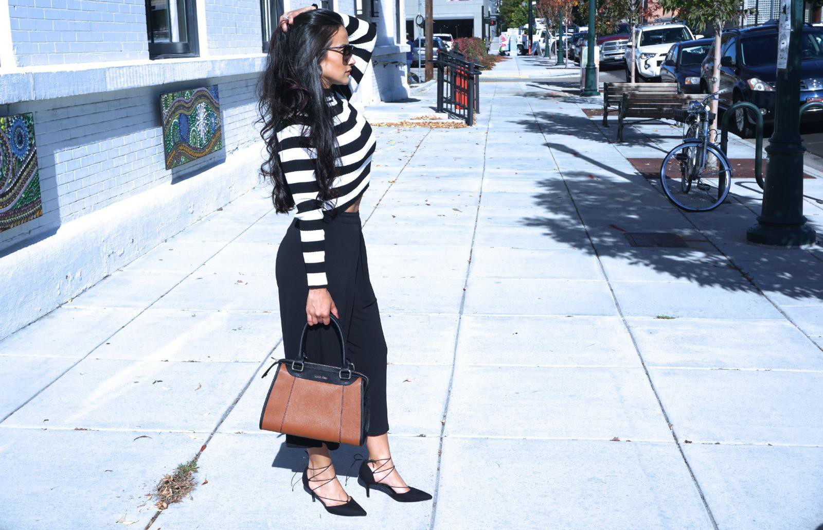 Black and White, Stripes, Culottes, Forever21, calvin klein purse