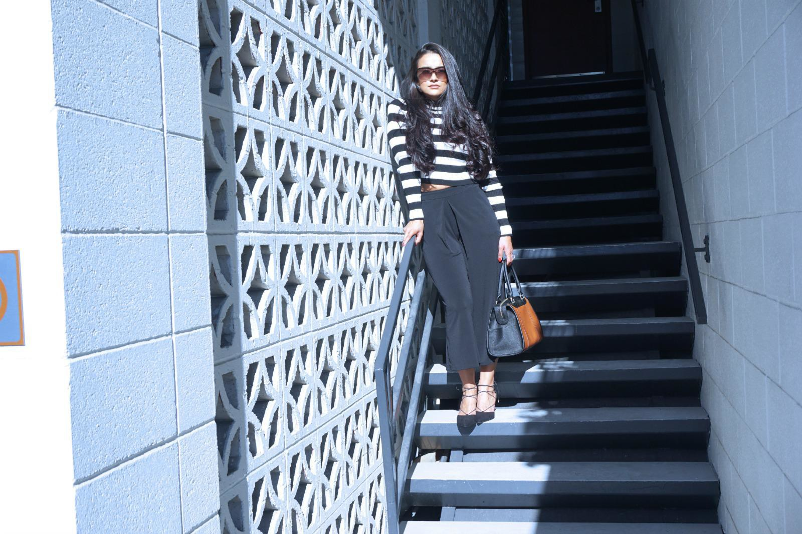 Black and White, Stripes, Culottes, Forever21, purse