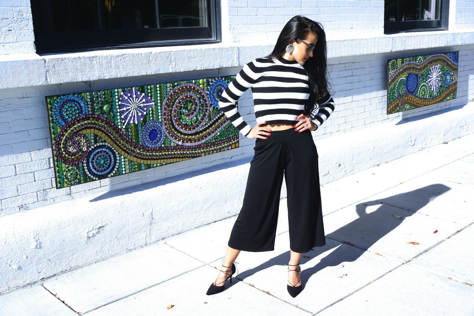 Black and White, Stripes, Culottes, Forever21