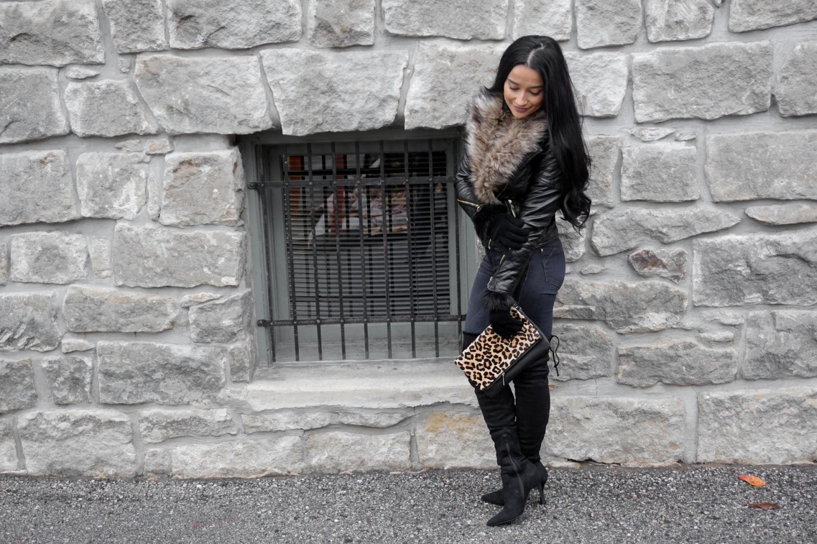 Motto Leather Jacket, Faux Fur, Aldo Thigh High Boots