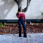 Tobi Top, Burgundy Top, Off the Shoulder, Flare Jeans, HM Flares, Long Hair