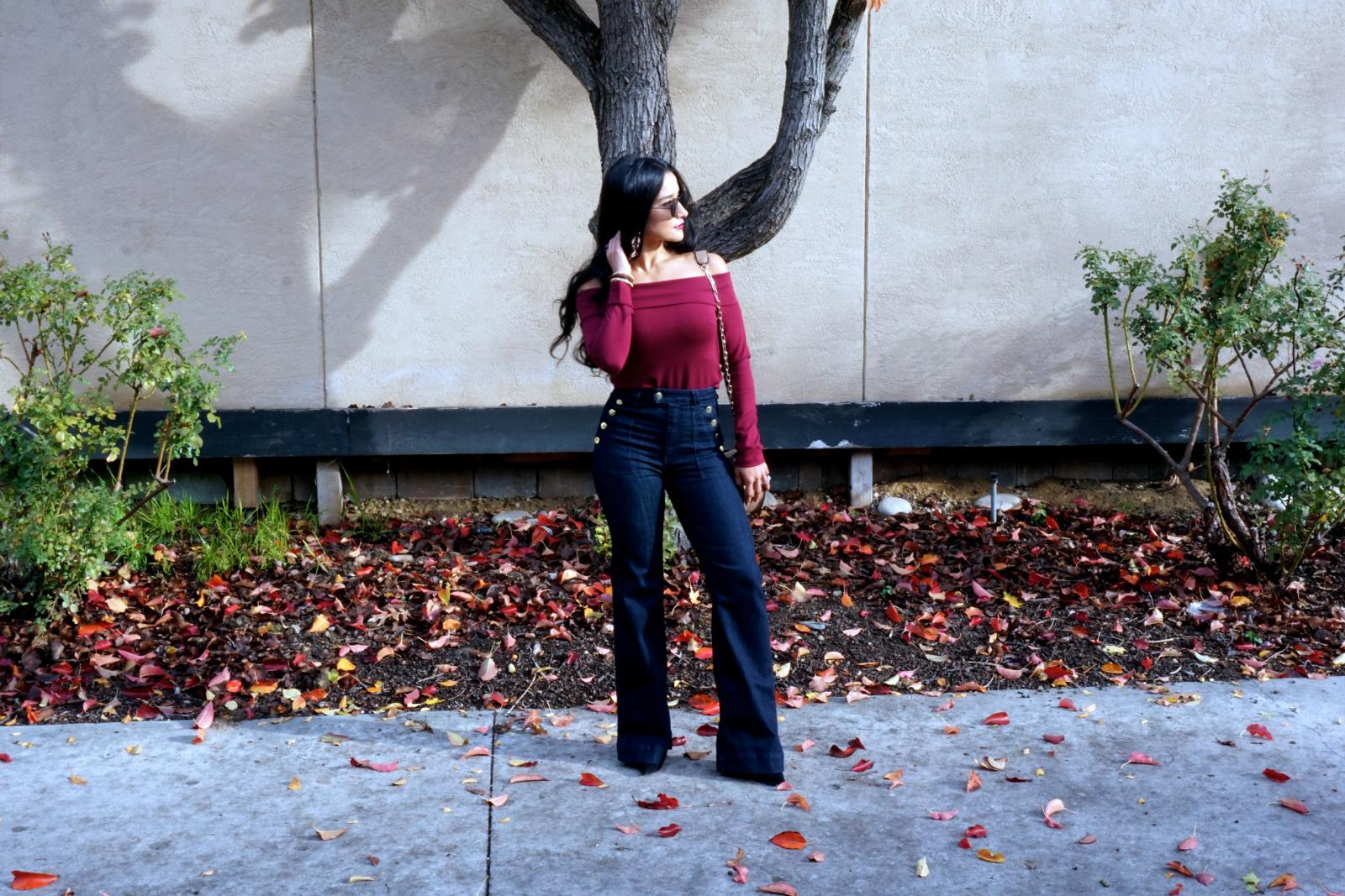 Flare Jeans and Off the Shoulder Top