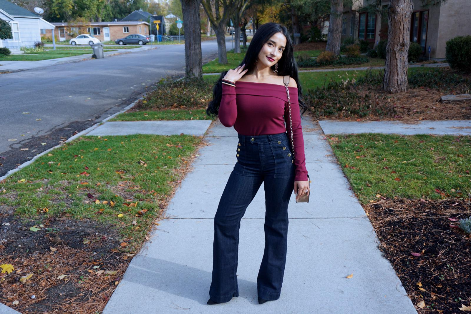 Posing in Flare Jeans