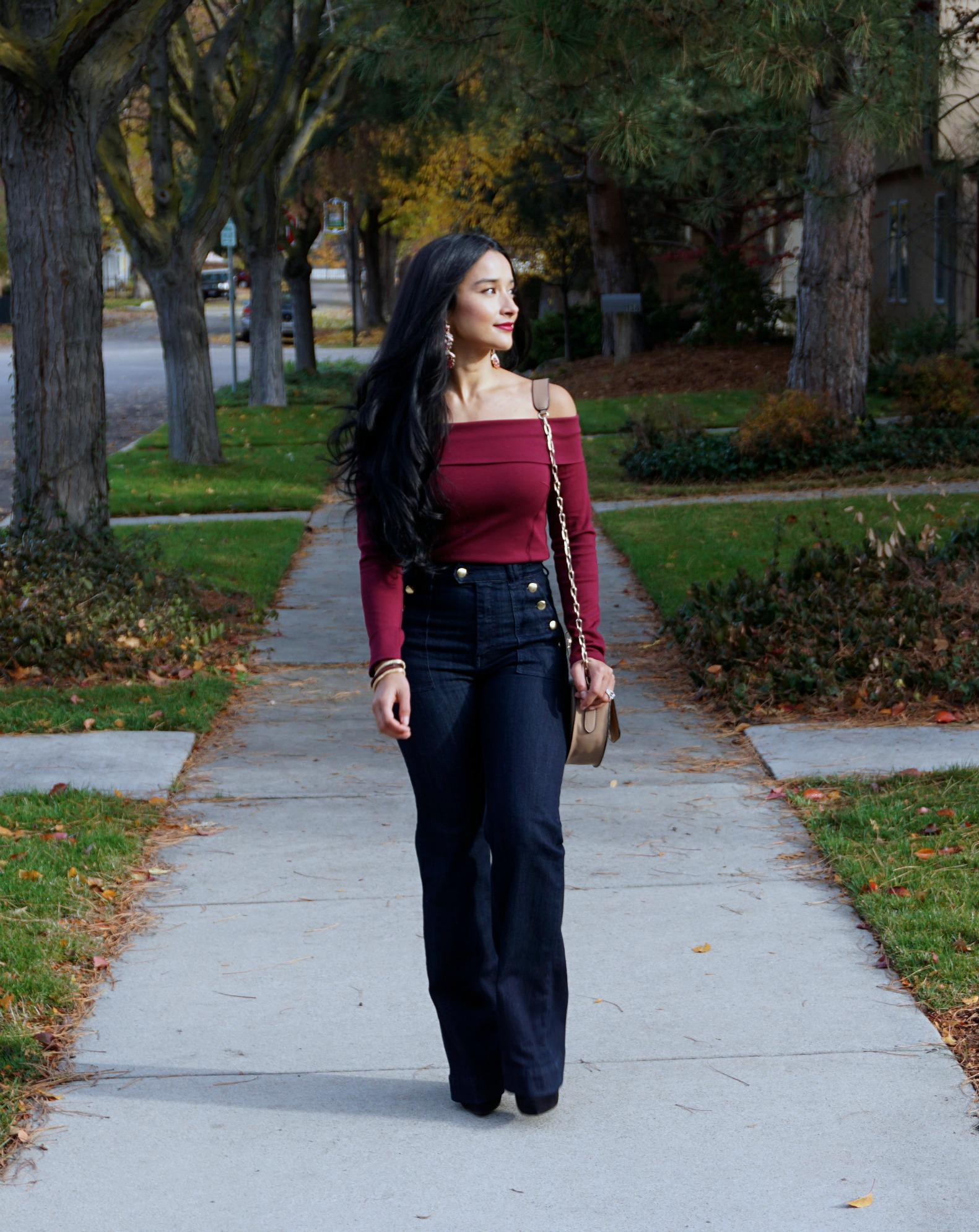 Tobi Top and HM Flare Jeans