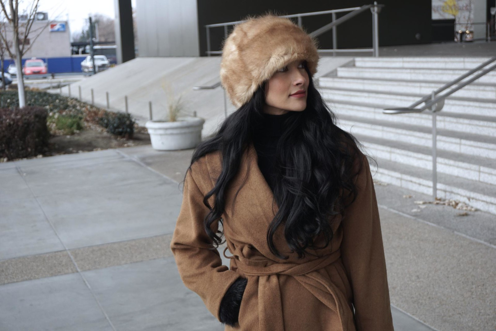 HM Camel Coat, Wool-blend Coat, Zara Fur Hat, Leopard Heels, Stilettos