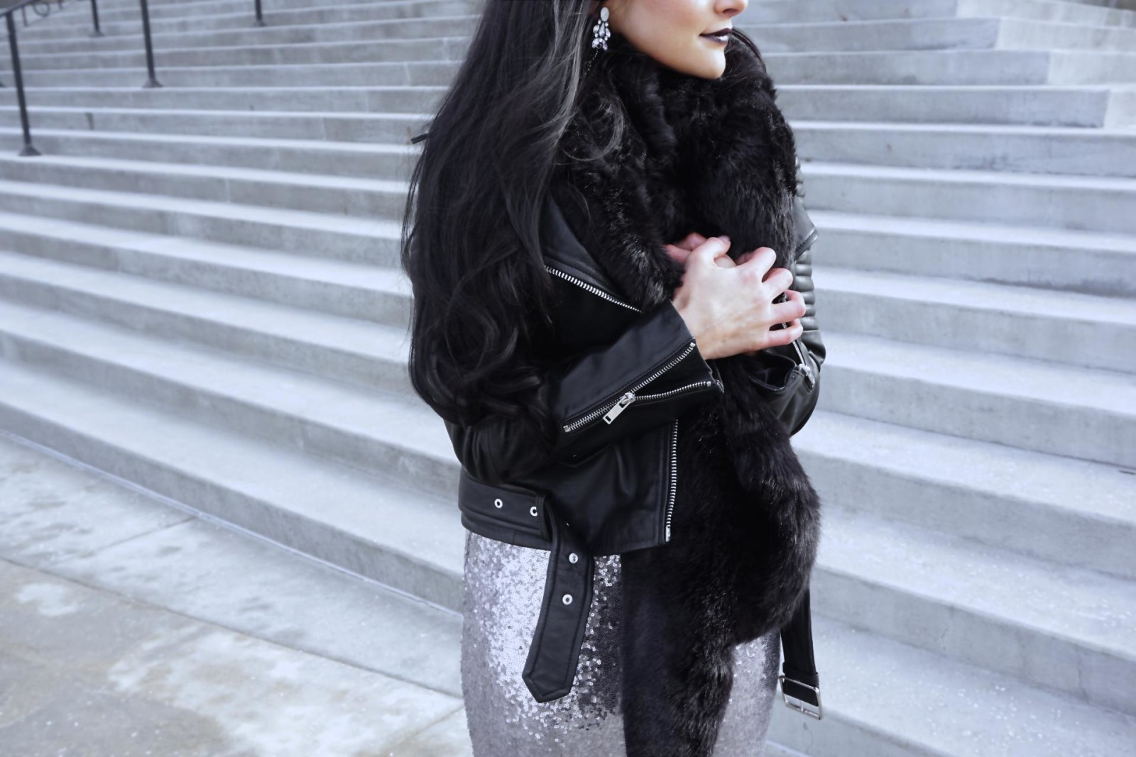 faux fur, zara, sequin skirt, moto jacket, leather, new years eve look, glamour, glamorous