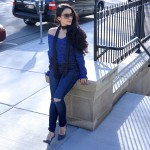 SheIn.com, Blue Boat Neck Cross Front Crop Sweater, Satin Skinny Tie Scarf, URBAN OUTFITTERS, STEVE MADDEN SUEDE GREY PUMPS, ROYAL BLUE, NECESSARY CLOTHING JEANS