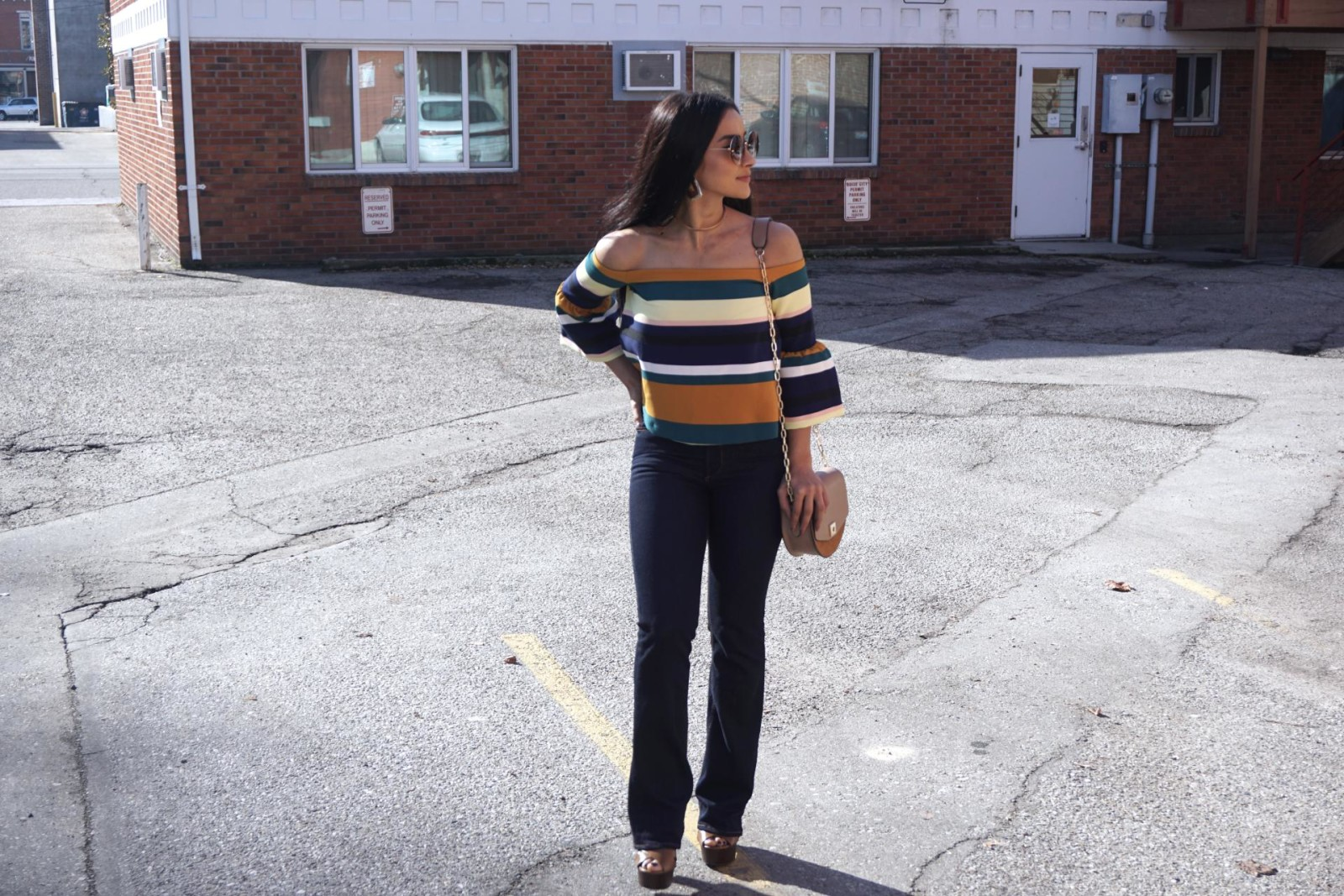 Striped Top, Zara Top, Zara Flares, Clogs, off the shoulder to, bell sleeves