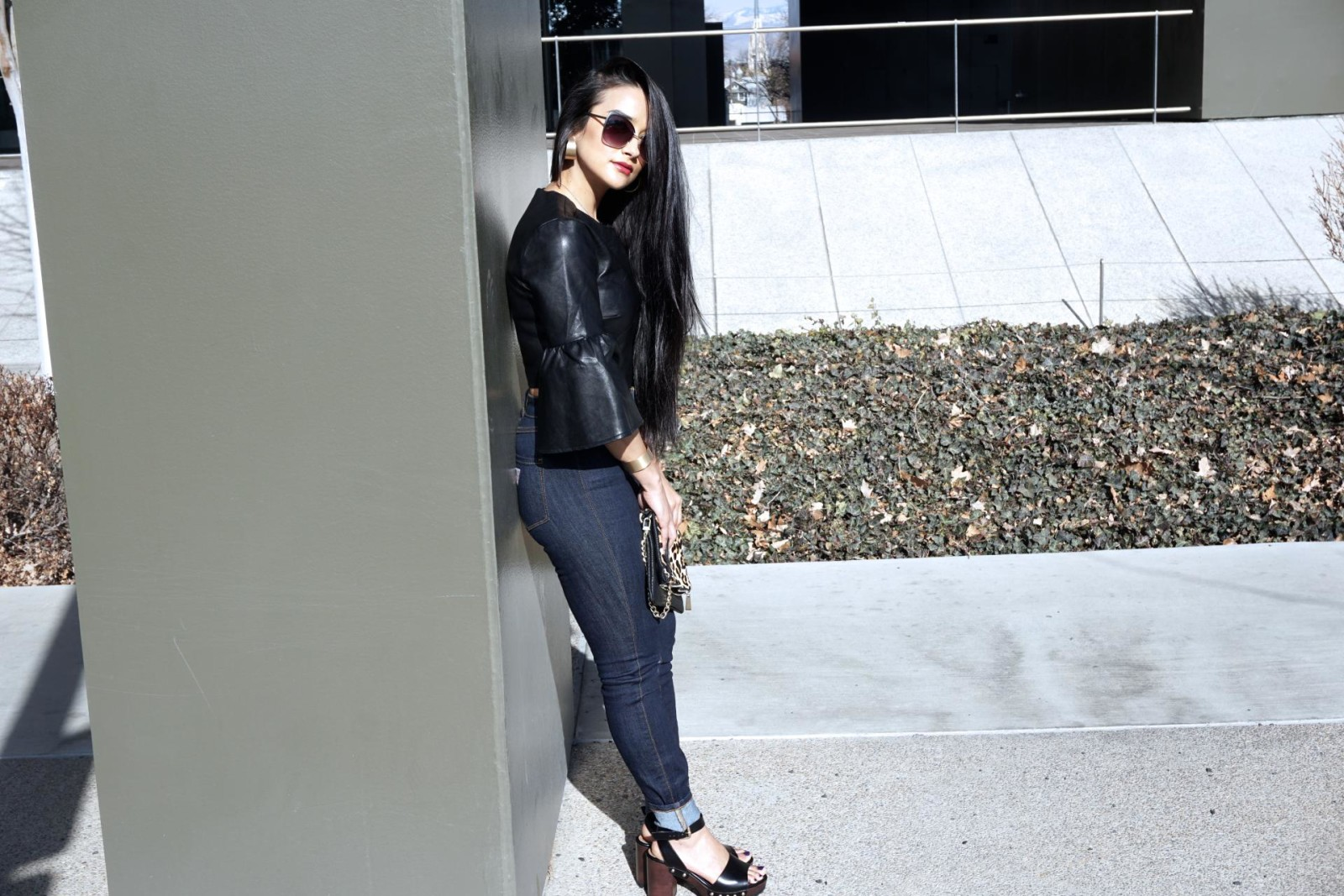 Nasty Gal Party Town Bell Sleeve Top, Long Hair, Black leather, Zara Shoes, Sandals with Ankle strap and track sole, Black sandals, Spring shoes, Dark denim, cuffed jeans