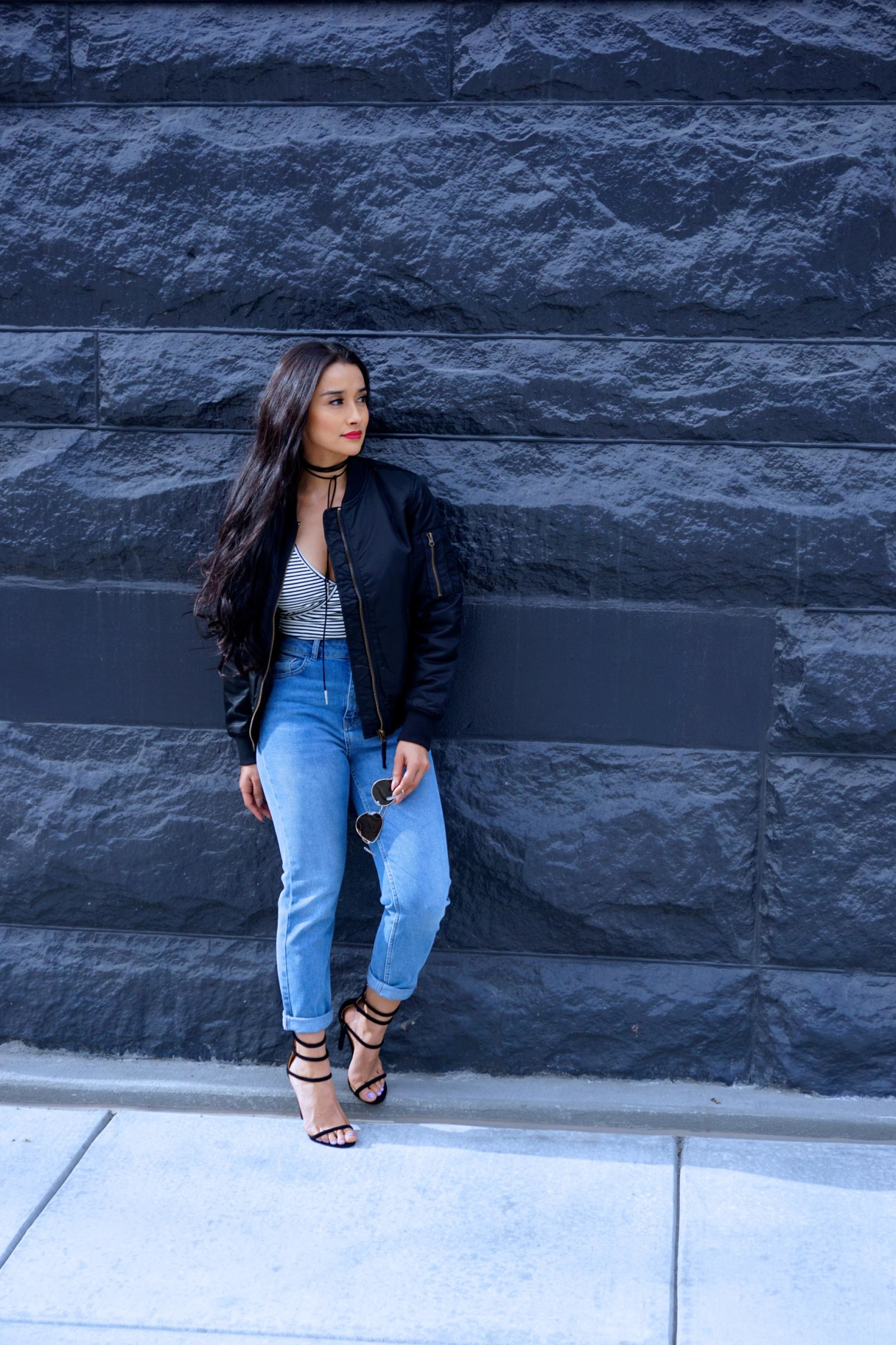 Urban Outfitters, Girlfriend Jeans, choker, forever21, stripes, black and white stripes, simmi heels, black heels, black bomber jacket