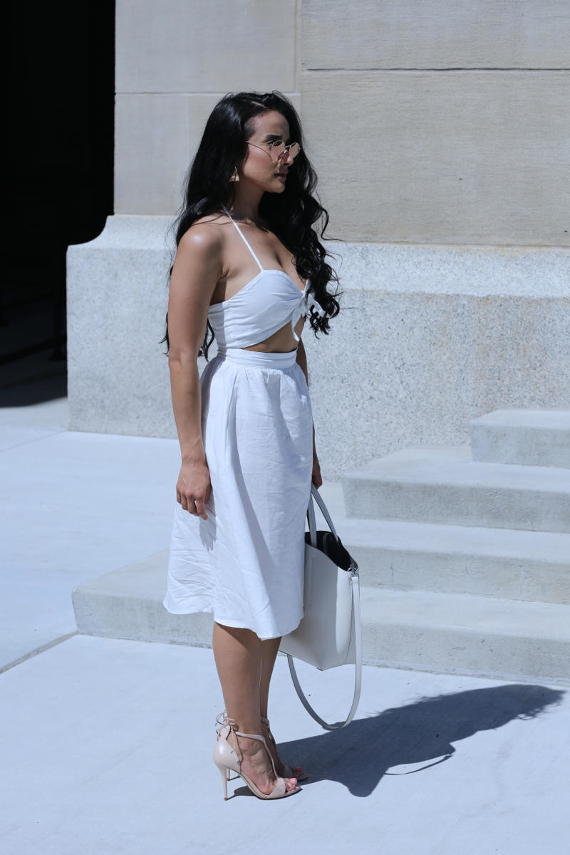 Robyn Linen Halter Midi Dress, White halter dress, summer dress, summer look, tobi dress, nude dress, white linen dress