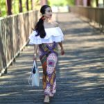 Asos, Ruffle top, off the shoulder, white top, spanish top, miss guided heels, nude heels, Print Wide-Leg Pants