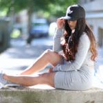 Sporty Outfit, Adidas hat, Tobi.com 2 piece, nike air max, comfy fashion, 2 piece outfit, long hair
