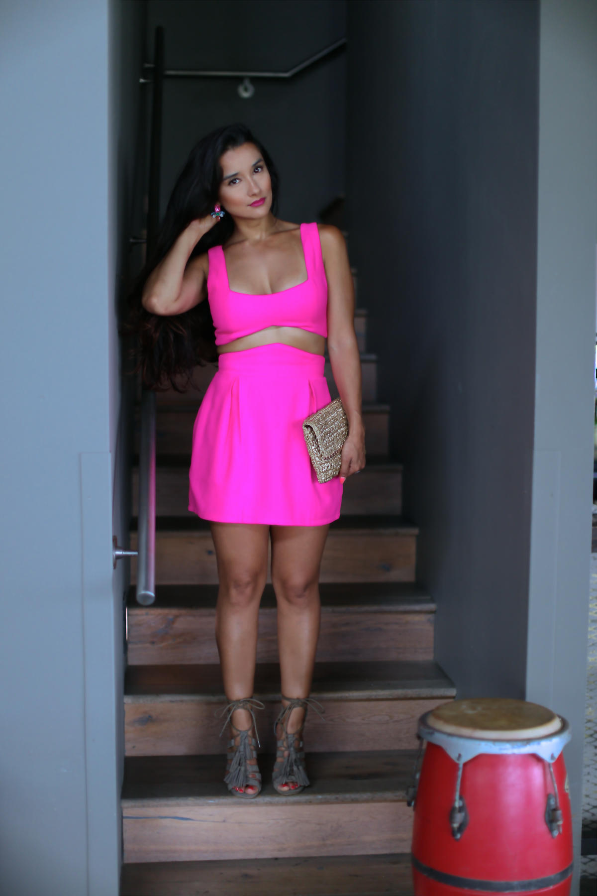 Tobi 2 Piece Set , Can't Get Past Me Bodycon Set, hot pink, date night, W in Vieques, Steve Madden Heels, TASSSAL heels, H&M, H & M Straw Clutch Bag