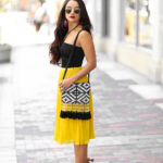 PLEATED MIDI SKIRT, Zara Skirt, Mustard Chiffon Skirt, Target Tribal Purse, Zara Black Body suit, HM Ring Set, Dillards Heels, Gianni Bini Hadley Fringe Two Piece Dress Sandals,