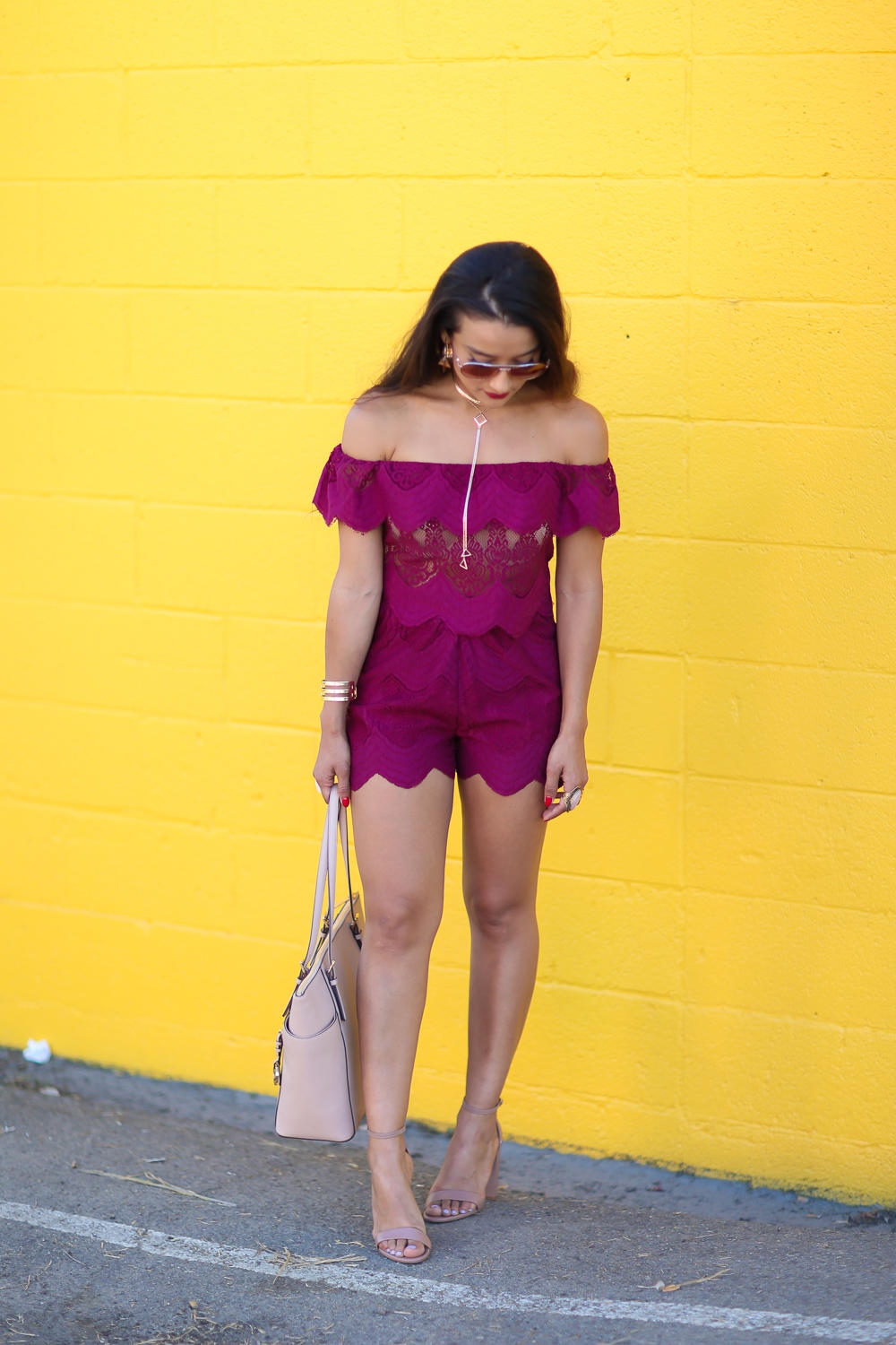 lace runner shorts purple, Missguided, matching lace set, lace shorts, lace off the shoulder top,