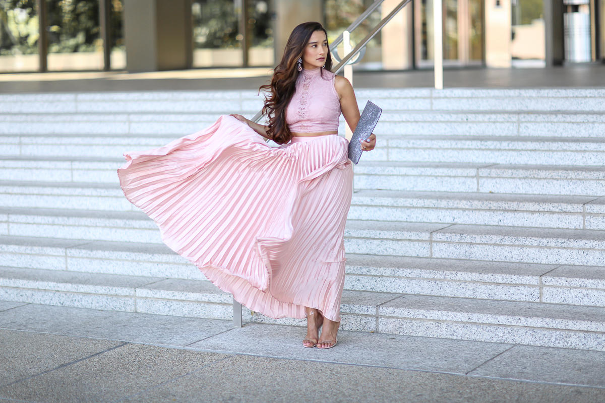 Pink Pleated Maxi, Shein Style, Mauve, Pleated Skirt, styling a pleated skirt, pink skirt, pink,