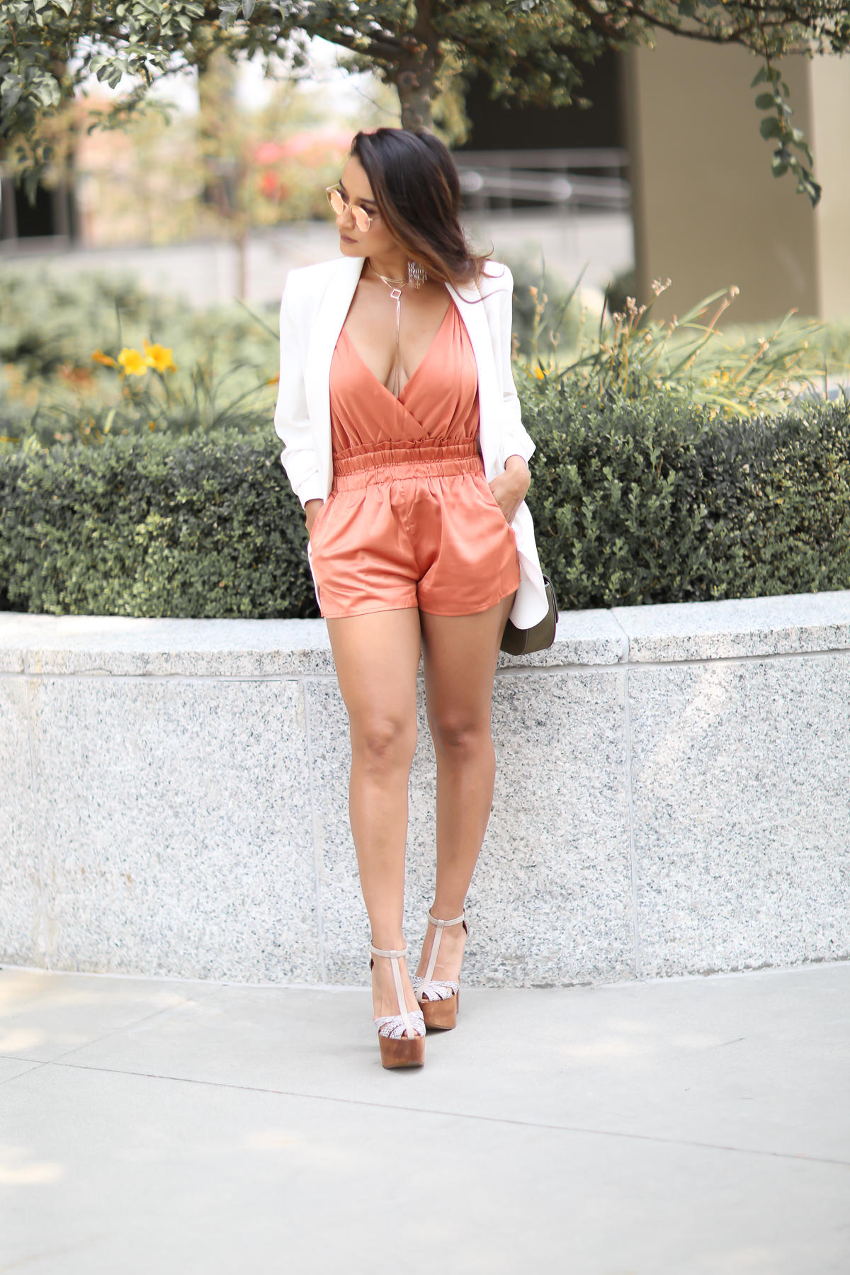 White Blazer, Silk Romper, Summer Silk, Necessary clothing Silk Romper